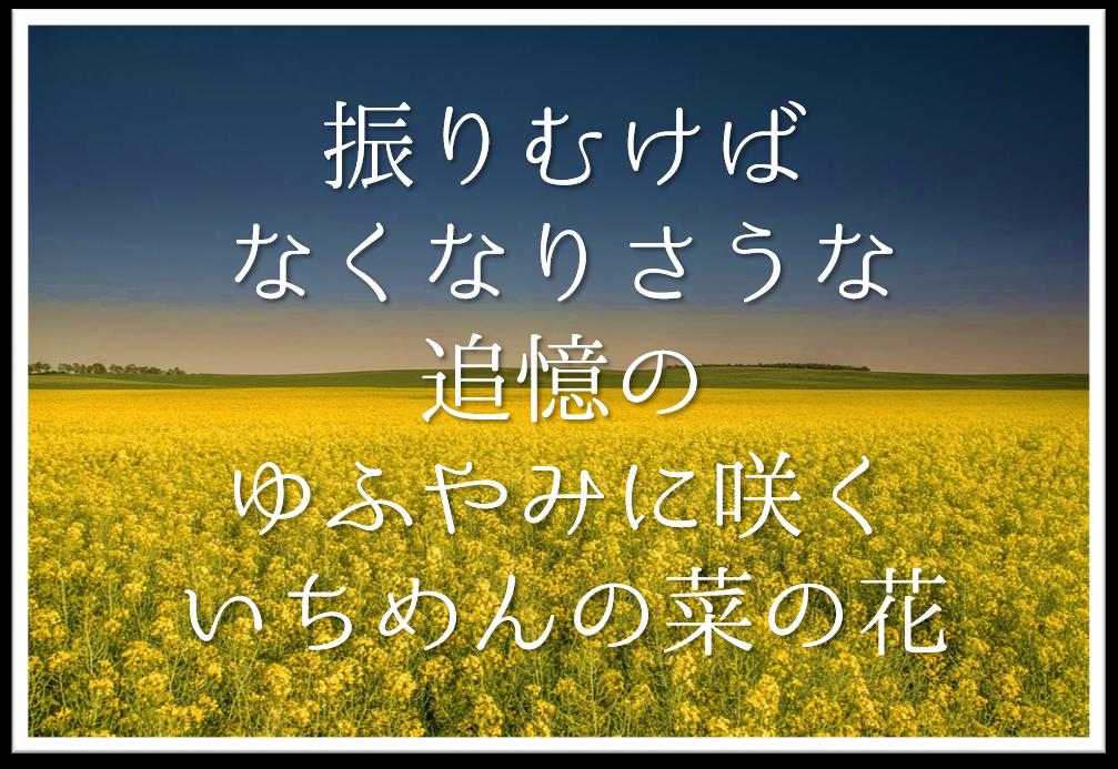 【振りむけばなくなりさうな追憶のゆふやみに咲くいちめんの菜の花】徹底解説!!意味や表現技法・句切れ・鑑賞文など