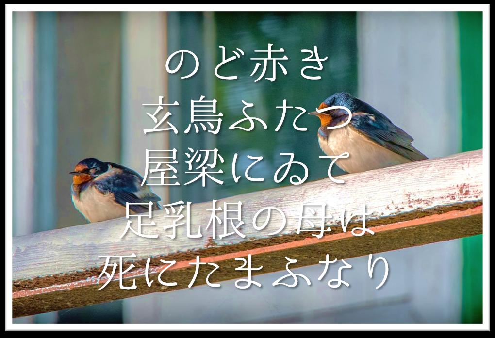 【のど赤き玄鳥ふたつ屋梁にゐて足乳根の母は死にたまふなり】徹底解説!!意味や表現技法・句切れ・鑑賞文など